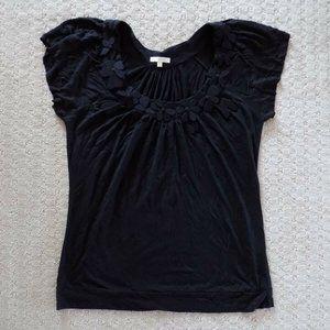 MATTY M FLOWER FLORAL TOP SHIRT BLACK
